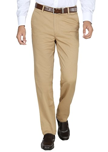 Modo-Mens-Regular-Fit-100-Cotton-Formal-Dobby-Khaki-Trouser