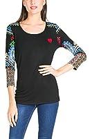 Desigual Bellisima - T-shirt - Imprimé - Col rond - Manches longues - Femme