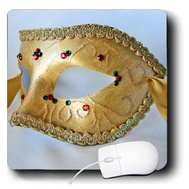 3dRose LLC 8 x 8 x 0.25 Inches Masquerade In Antique Gold Glitter Mouse Pad (mp_7017_1)