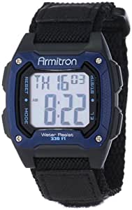 Armitron Sport Unisex 40/8263BLU Black Velcro Strap Square Blue Digital Chronograph Watch