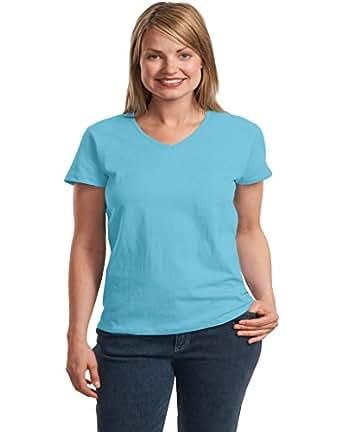 Hanes Ladies ComfortSoft V-Neck T-Shirt. 5780 (Aquatic Blue) (Small)