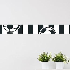 Bordüre Fussball schwarz weiß Fussballverein Wanddekoration Kinderzimmer Bälle Sport Verein Hobby Freizeit Dekoration Fussballfan Set 1 - 3-teilig