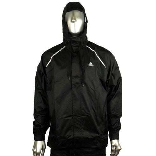 Mens Adidas Reflective Kagool Kagoul Hooded Running Rain Jacket Full Zip Coat M