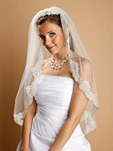 Mantilla Ivory Lace Wedding Veil Threaded with Silver Chain