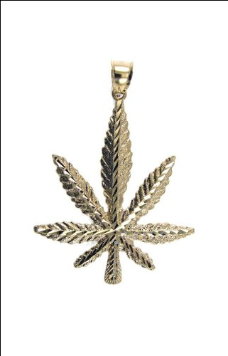 14k Yellow Gold, Hemp Marijuana Leaf Pendant Charm 47mm Wide