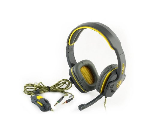 Sades Sa-708 Gaming Headset With Mic & Remoter(For Volume And Mic), Over-Ear Headset (Grey+Yellow)