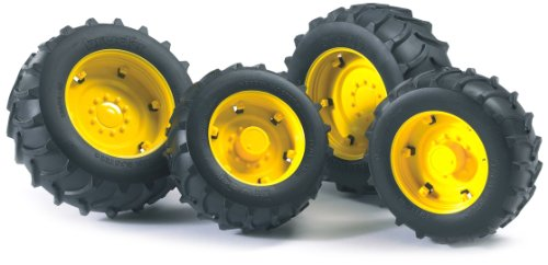 Bruder Twin Tires with Rims for 02000 Series Tractor, Yellow - 1