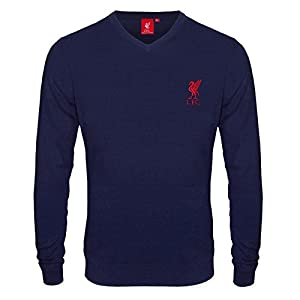 Liverpool FC Official Football Gift Mens Crest Knitted Jumper Navy Large from Liverpool FC