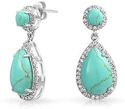 Bling Jewelry Teardrop Blue Turquoise Drop Earrings Cubic Zirconia Round