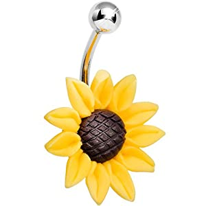 Stunning Sunflower Belly Ring by Body Candy