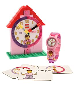 Lego Time Teacher Girl's Quartz Watch with White Dial Analogue Display and Pink Plastic or PU Strap 9005039