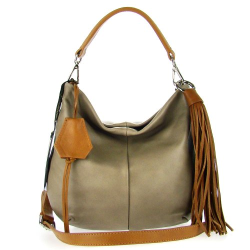 a733d9857b GIANNI CHIARINI Italian Made Taupe Leather Small Slouchy Designer Hobo Bag