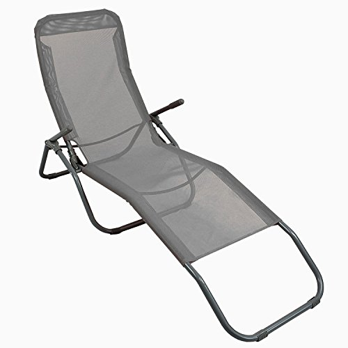 Sonnenliege-Liegestuhl-Gartenliege-Klappstuhl-Lounger-Strandliege-Badeliege-Textilenbespannung-in-Grau-stufenlos-neigbar-durch-Gewichtsverlagerung-pulverbeschichteter-Rahmen