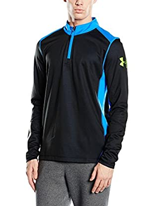 Under Armour Camiseta Manga Larga Técnica Grid 1/4 Zip (Negro / Turquesa)