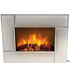 Homcom 26 Adjustable Modern Indoor Electric Wall Mount Heater Fireplace Mirrored