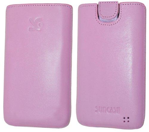 Original Suncase Tasche fuer / Alcatel One Touch 992D (Dual-Sim) / Leder Etui Handytasche Ledertasche Schutzhuelle Case Huelle - Lasche mit Rueckzugfunktion* In Rosa