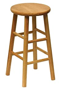 Winsome Wood 24-Inch Beveled Seat Barstool with Natural Finish, Set of 2 by Winsome Wood