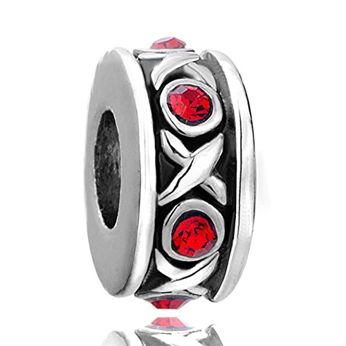 Xoxo Love Kisses & Hugs Charms Silver Plated Red Crystal Spacers Bead Charm Fits Pandora Bracelet (Pandora Red Beads compare prices)