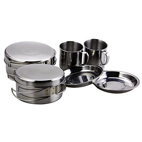 BeGrit Backpacking Camping Cookware Picnic Camp Cooking Cook Set for Hiking (8pcs/set, 410 Stainless Steel) (Camp Cook Pans compare prices)