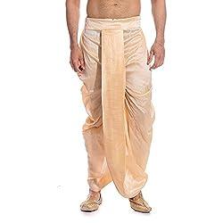 Tag 7 Mens Silk Blend Dhotis (DH03_Gold_Free Size)