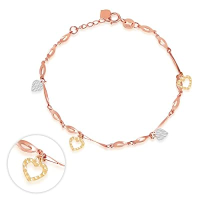 14ct Three Colour Yellow Rose White Gold Diamond-Cut Heart Charm Bracelet, Jewellery Gift