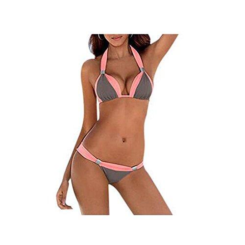 GWELL-Costume da bagno da donna Push Up Bikini grau-rosa EU 36-38 Schild:L
