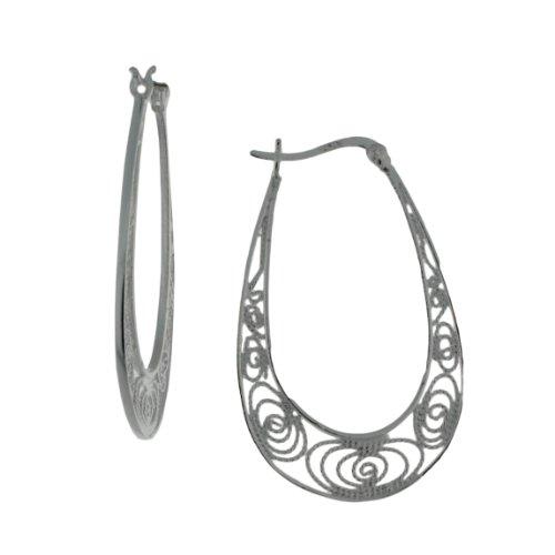 Sterling silver filigiri, oval shape click-top hoop earring.