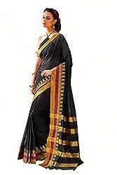 Lemoda Designer Black Zari Border Cotton Blend Saree MMUKE22809077830-70000021