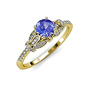Tanzanite and Diamond (SI2-I1, G-H) Engagement Ring 1.20 ct tw in 14K Yellow Gold.size 5.5