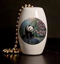 Cherry Tree Panda Porcelain Fan / Light Pull