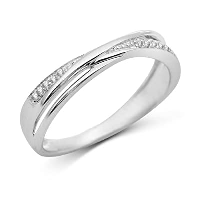 Miore 9ct White Gold Pave set Diamond Crossover Ring SA922R