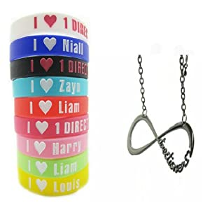 One Direction 9pcs I Love Bracelet Wristband with 1 Pcs Black One Direction Necklace by Molie