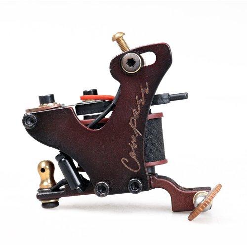 Compass Tattoo Machine Gun Plata Liner 10 Wraps Steel Frame Copper Coils WQ2071-1
