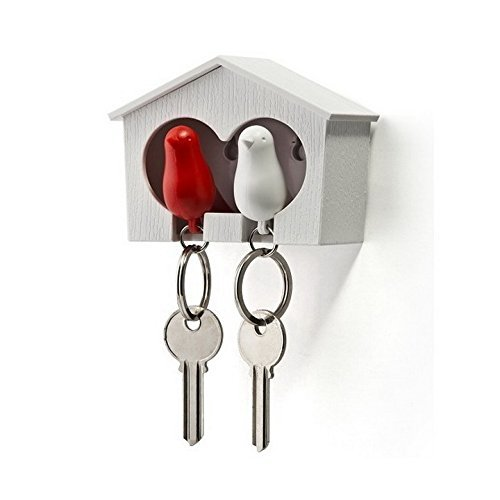 Duo Sparrow Key Holder by Qualy Design. Wall Mounted Bird House and Two Bird Key Fobs. Great Key Hook for Couple. Cool Gift for Her and Him. White Birdhouse. White and Red Keyring Birds. (Dog Tag Display Case compare prices)