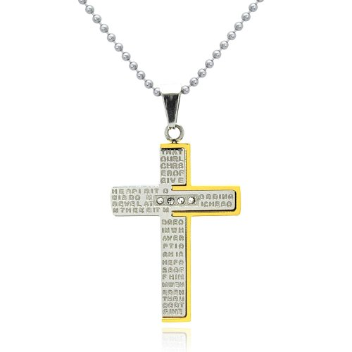 316L Stainless Steel Two Tone Gold Plated Prayer Cross Necklace 20IN