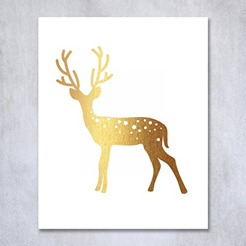 Deer Gold Foil Print Poster Home Decor Wall Art Print Reindeer Antlers Rustic Chic Metallic Gold Art 8 inches x 10 inches D3