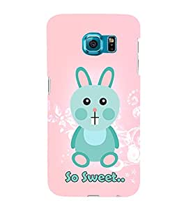 So Sweet Girly Rabbit Cute Fashion 3D Hard Polycarbonate Designer Back Case Cover for Samsung Galaxy S6 Edge :: Samsung Galaxy S6 Edge G925 :: Samsung Galaxy S6 Edge G925I G9250 G925A G925F G925FQ G925K G925L G925S G925T