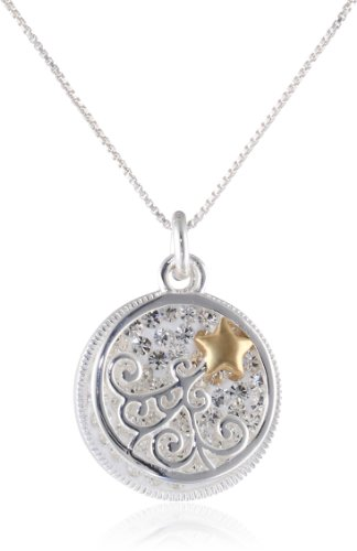Two-Tone Sterling Silver with Yellow Gold Flashed Crystal Disc with Shooting Star, Necklace, 18""