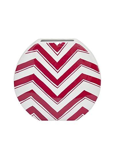 Three Hands Short & Wide Chevron Ceramic Vase, Red/White