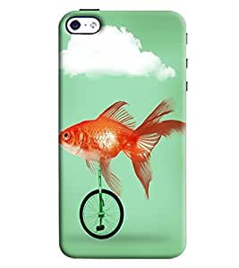 Blue Throat Fish Riding Bicycle Printed Designer Back Cover/ Case For Apple iPhone 4