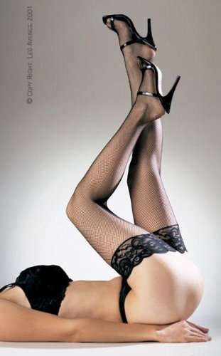 Leg Avenue Fishnet Thigh Highs with Lace Top