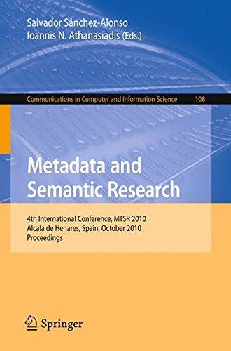 Metadata and Semantic Research: 4th International Conference, MTSR 2010, Alcalá de Henares, Spain, October 2010, Procee
