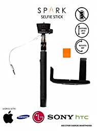 Selfie Stick By Spark Products Offers Compact Handheld [Battery Free] & Adjustable Phone Holder Design with Built-in Remote Shutter, Designed for All Apple iPhone 6S, iPhone 6 Plus, iPhone 6, iPhone 5S, iPhone 5 and 5C, Samsung Galaxy S6, Galaxy S5, Galax