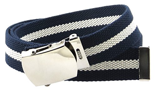 "Canvas Web Belt Nickel Buckle/Tip Colorful Patterns 50"" Long (Navy/Natural)"