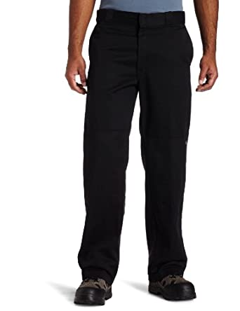 Dickies Mens Loose Fit Double Knee Work Pant, Black, 28x30
