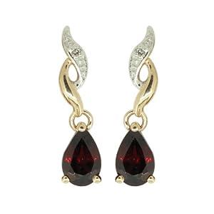 Boucles d'Oreilles Pendantes - Femme - Or jaune (9 cts) 0.94 Gr - Grenat - Diamant
