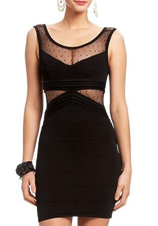 2B Mesh Dot Sweater Dress 2b Night Dresses Blk-xxs