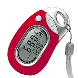 Pedusa PE-771 Tri-Axis Multi-Function Pocket Pedometer (Red with Holster/Belt Clip)