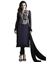 Kalki Fashion Midnight Blue And Black Kurta With Churidar Pants