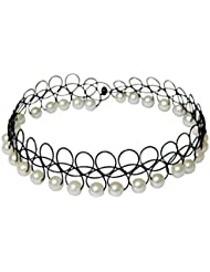 White Pearl Choker Necklace For Girls – Stylish And Modern Black Choker Neck Lace Vintage – Free Size By FreshVibes